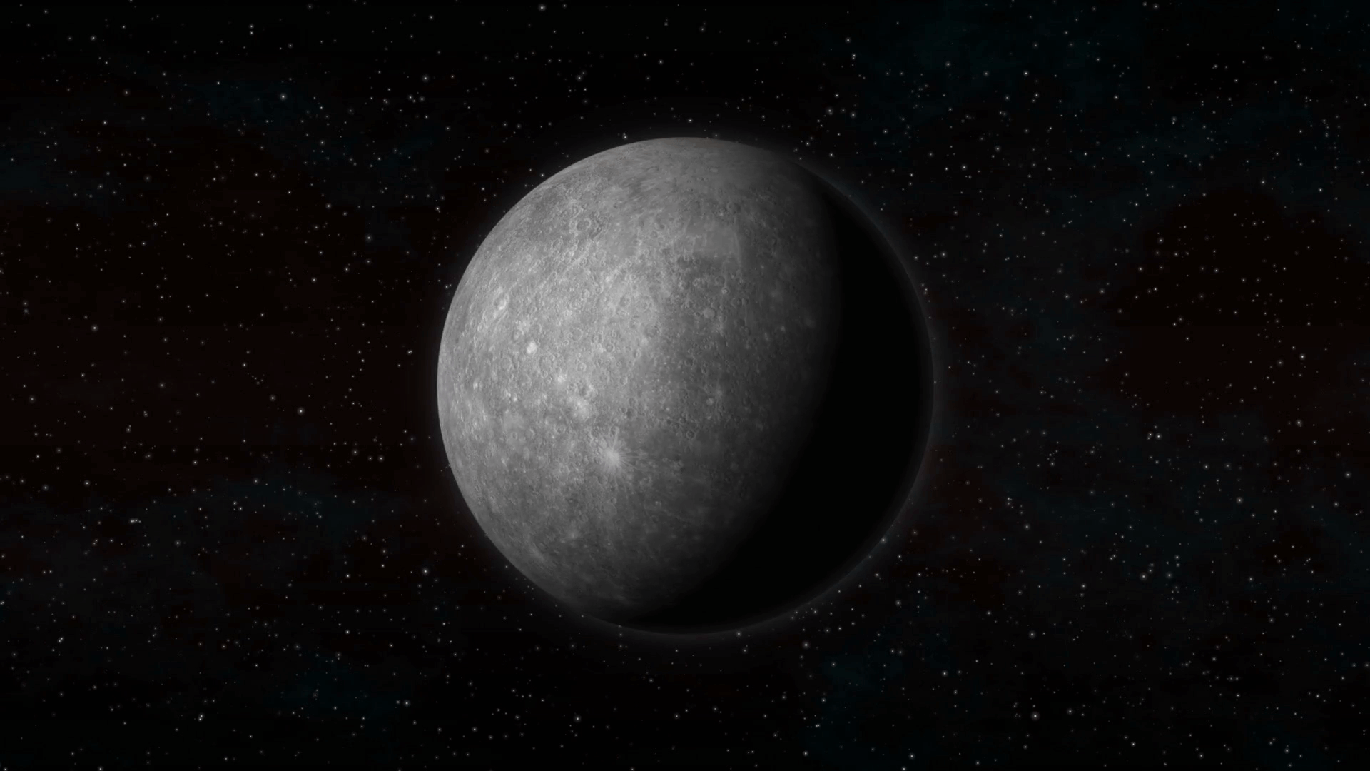 Planet Mercury in space