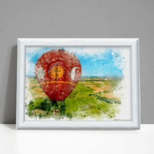Red air balloon Astrology chart watercolour