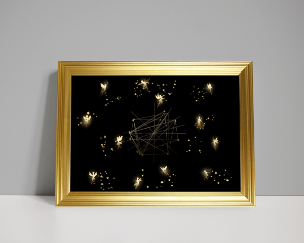 12 glowing fairies with constellations as a birth chart on plain black background