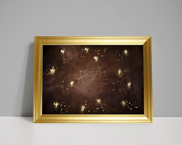 12 glowing fairies with constellations as a birth chart in warm colour nebula