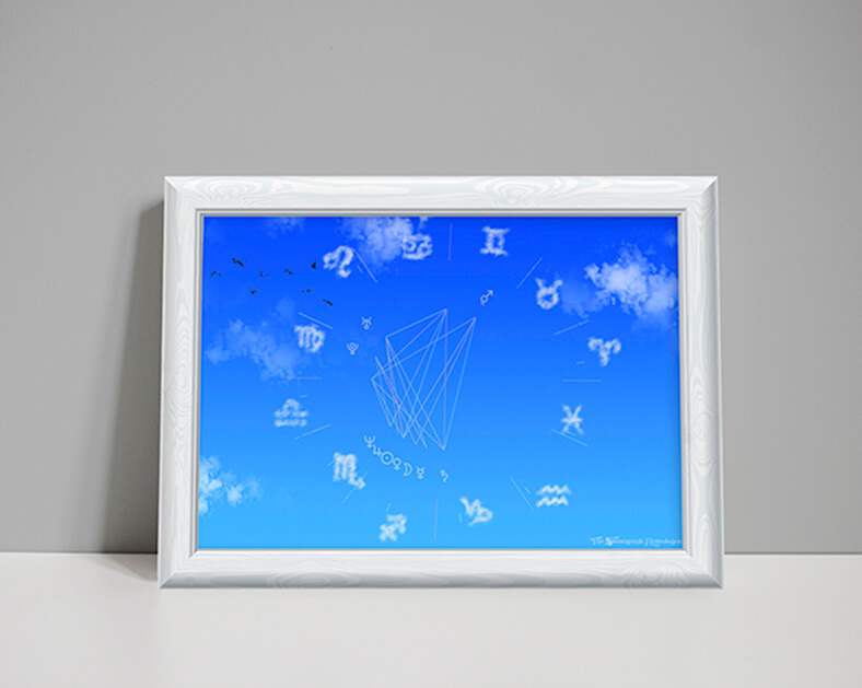 air element astrology chart showing blue skies and zodiac glyphs as clouds