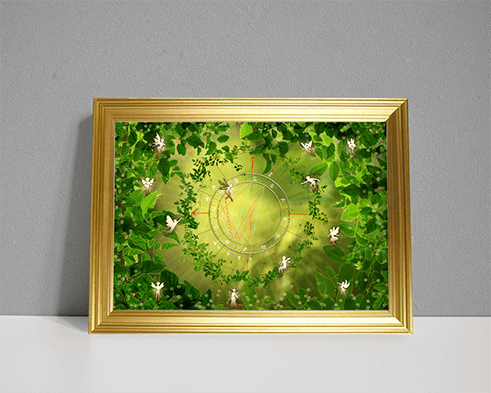 Astrology chart as art showing forest scene with fairies
