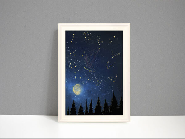 Astrology chart art showing the 12 zodiac constellations in 'the dark sacred night sky