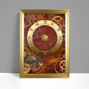 ARTstrology chart with red leather background and metal gears and cogs