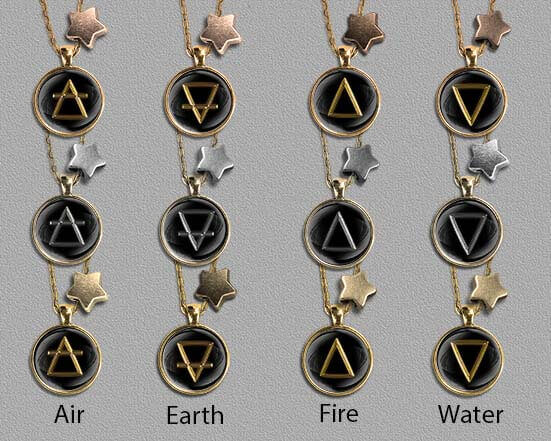 Symbols of the 4 elements on bronze, silver and gold pendants