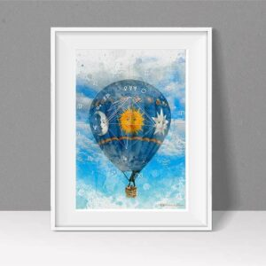 Astrology chart as Hot air balloon with blue sky and fluffy clouds as a watercolour