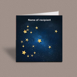 Square greetings card of Aquarius gold stars constellation on night sky background