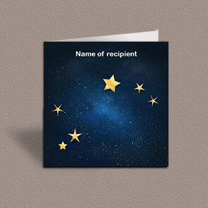 Square greetings card of Aries gold stars constellation on night sky background