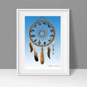 Dreamcatcher style Astrology chart against a sky blue background
