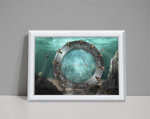 water element astrology chart showing Stargate resting on seabed with clear blue water
