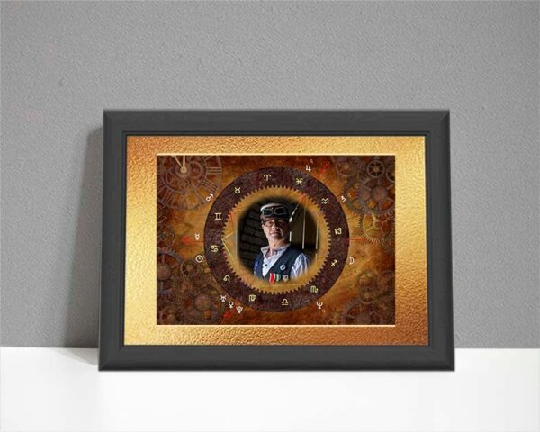 Steampunk design ARTstrology chart with gears and cogs plus the client's photo in the centre