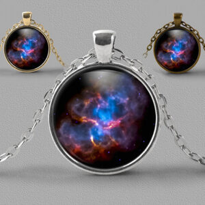 Astrology jewellery pendant necklace Crab nebula in blue and purple