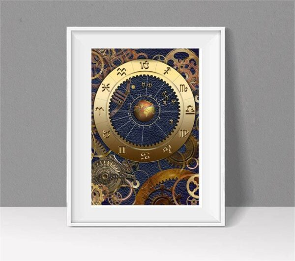 Astrology chart with blue leather background and showing brass gears and cogs