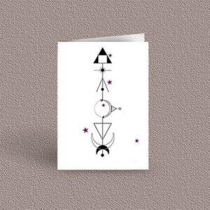 Cancer represented as a geometric design arrow on a greetings card