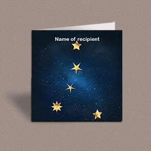 Square greetings card of Cancer gold stars constellation on night sky background
