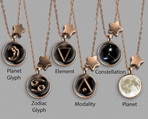 A range of Cancer zodiac designs set in bronze coloured pendants