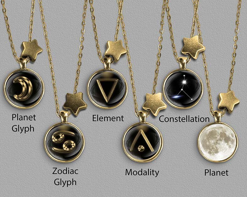 A range of Cancer zodiac designs set in gold coloured pendants