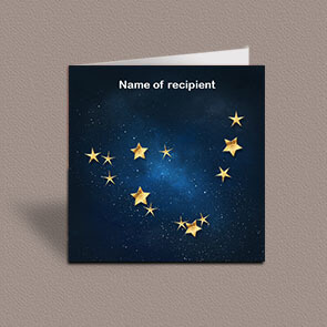 Square greetings card of Capricorn gold stars constellation on night sky background