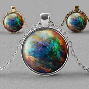 Astrology jewellery pendant necklace nebula of beautiful blue green and gold