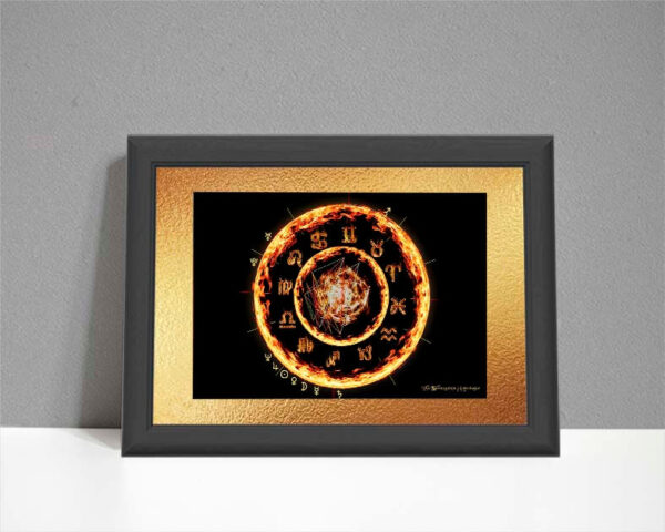 Fire element astrology chart drawn as flames on black background