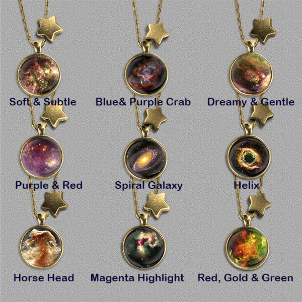 Nine Nebulae pendants on gold colour mount each with a star bead
