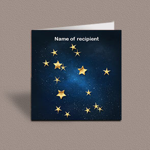 Square greetings card of Gemini gold stars constellation on night sky background