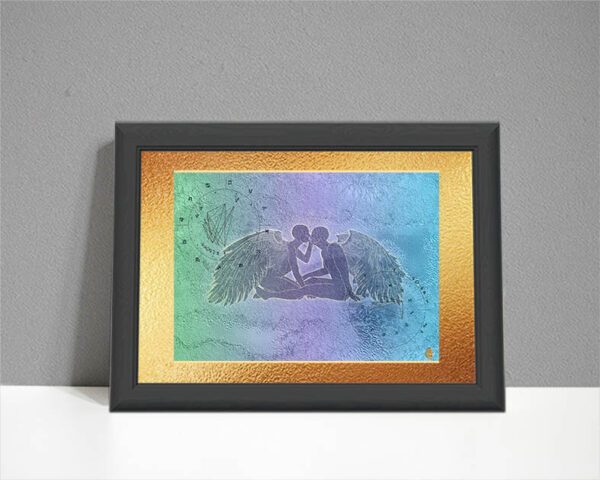 ARTstrology showing two angels with two birth charts on pastel background