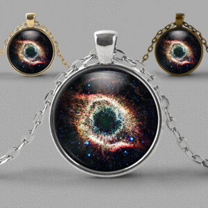Astrology jewellery pendant necklace showing Helix nebula or Eye of God