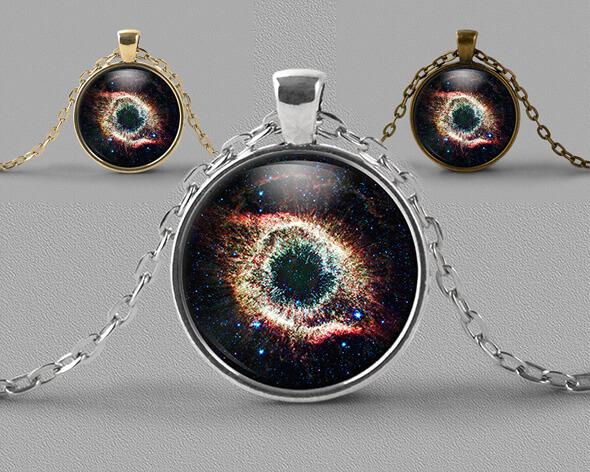 Astrology jewellery pendant necklace showing Helix nebula or Eye of God