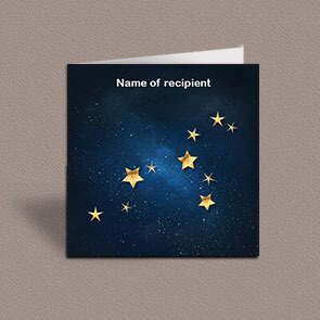 Square greetings card of Leo gold stars constellation on night sky background