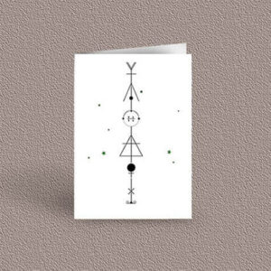 Libra represented as a geometric design arrow on a greetings card