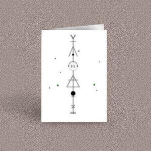 Libra represented as a geometric design arrow on a greetings card