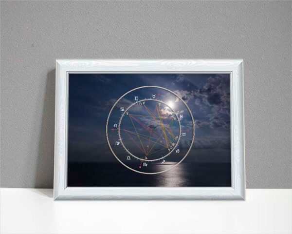 Astrology moonlit wedding chart showing moonlit night over sea as background