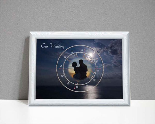 Astrology moonlit wedding chart with photo in centre showing moonlit night over sea as background