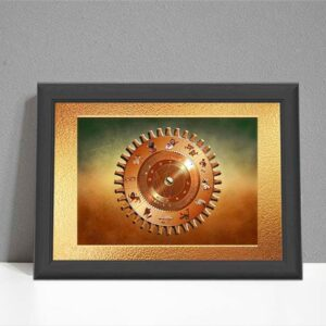 Steampunk gear style ARTstrology chart on soft green to brown background