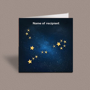 Square greetings card of Pisces gold stars constellation on night sky background