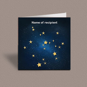 Square greetings card of Sagittarius gold stars constellation on night sky background