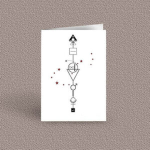 Scorpio represented as a geometric design arrow on a greetings card