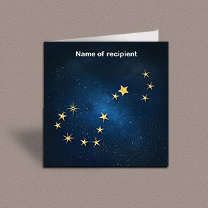 Square greetings card of Scorpio gold stars constellation on night sky background