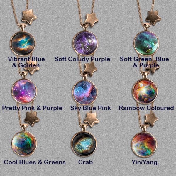 Nine Nebulae pendants on bronze colour mount each with a star bead