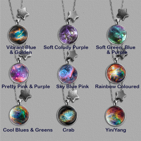 Nine Nebulae pendants on silver colour mount each with a star bead