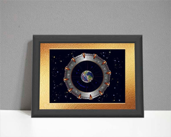 An ARTstrology chart inspired by the film Stargate showing a Stargate wheel with planet earth at the centre