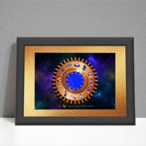ARTsrology chart with steampunk gear chart on colourful starry sky background