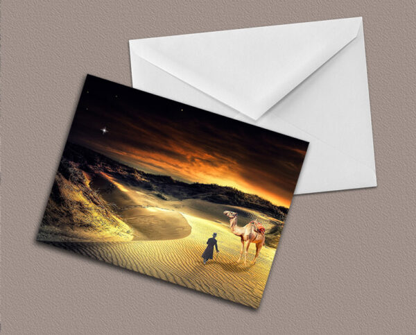 Greetings card of steampunk in desert at sunset with camel