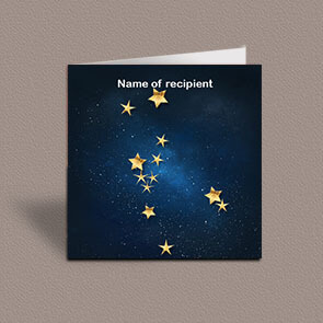 Square greetings card of Taurus gold stars constellation on night sky background