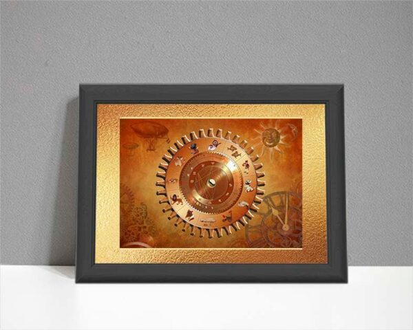 Steampunk style ARTstrology chart with gears cogs and airship