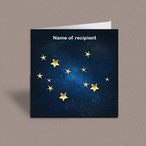 Square greetings card of Virgo gold stars constellation on night sky background