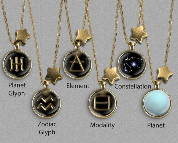 A range of Aries zodiac designs set in gold coloured pendants