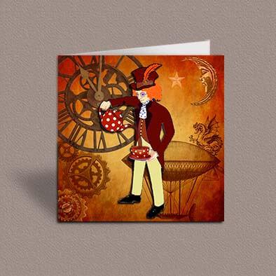 Steampunk Aquarius greetings card