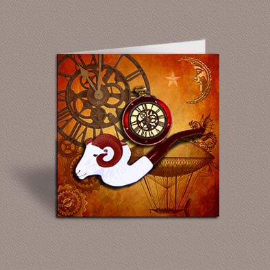 Steampunk Aries greetings card